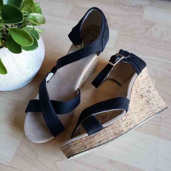 6721e090285 Black Canvas Women s Strappy Cork Wedge. M 5c4934b9aa87703c032fb4ee